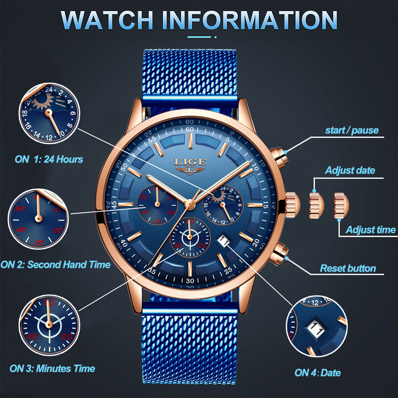 Relogio Masculino LIGE Luxury Quartz Watch for Men Blue Dial Watches Sports Watches Moon Phase Chronograph Mesh Belt Wrist Watch 3