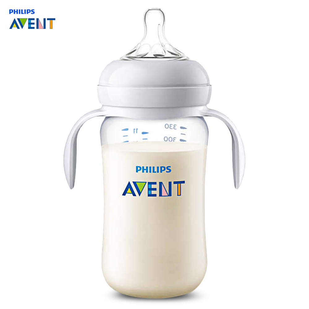 Avent 11oz / 330ml Baby Feeding Bottle With Double Handles BPA Free Wide Mouth Baby Milk Bottle Training Feeding Drinking Cup