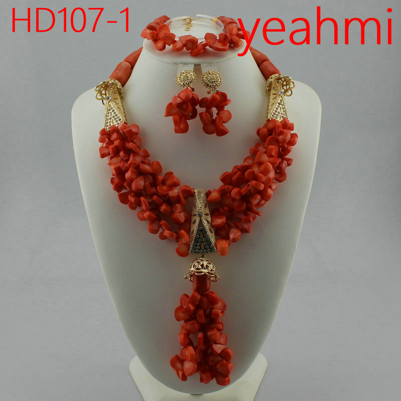 Beautiful Indian Bridal Coral Statement Necklace Set Wedding Nigerian Coral Beads Necklace Set Women Jewelry Set HD107-2Beautiful Indian Bridal Coral Statement Necklace Set Wedding Nigerian Coral Beads Necklace Set Women Jewelry Set HD107-2