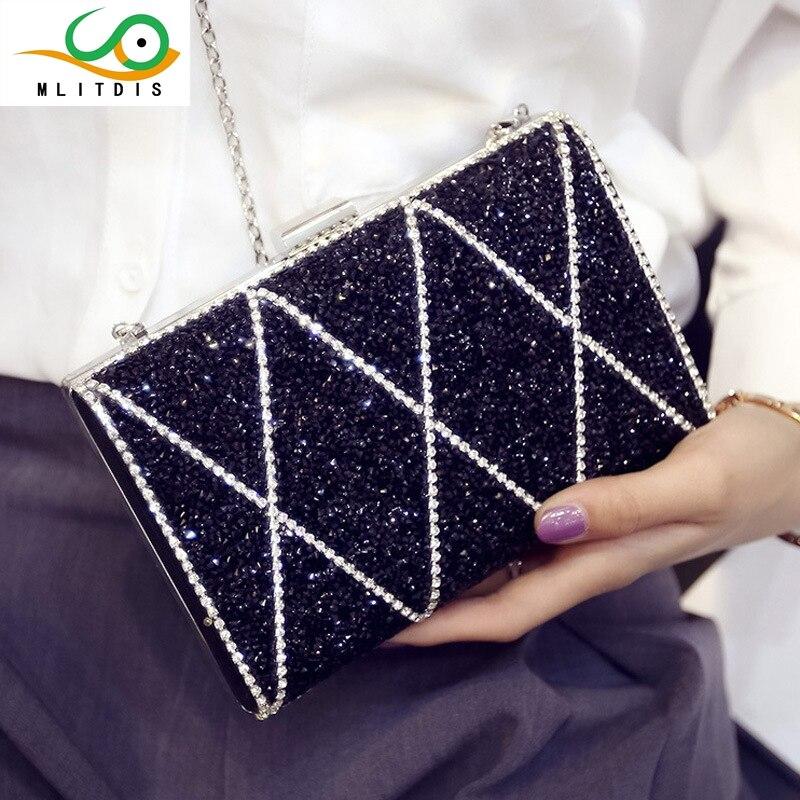 ФОТО MLITDIS 2017 summer new diamond hand bag fashion chain internal interval single shoulder bag envelopes lock dinner bag