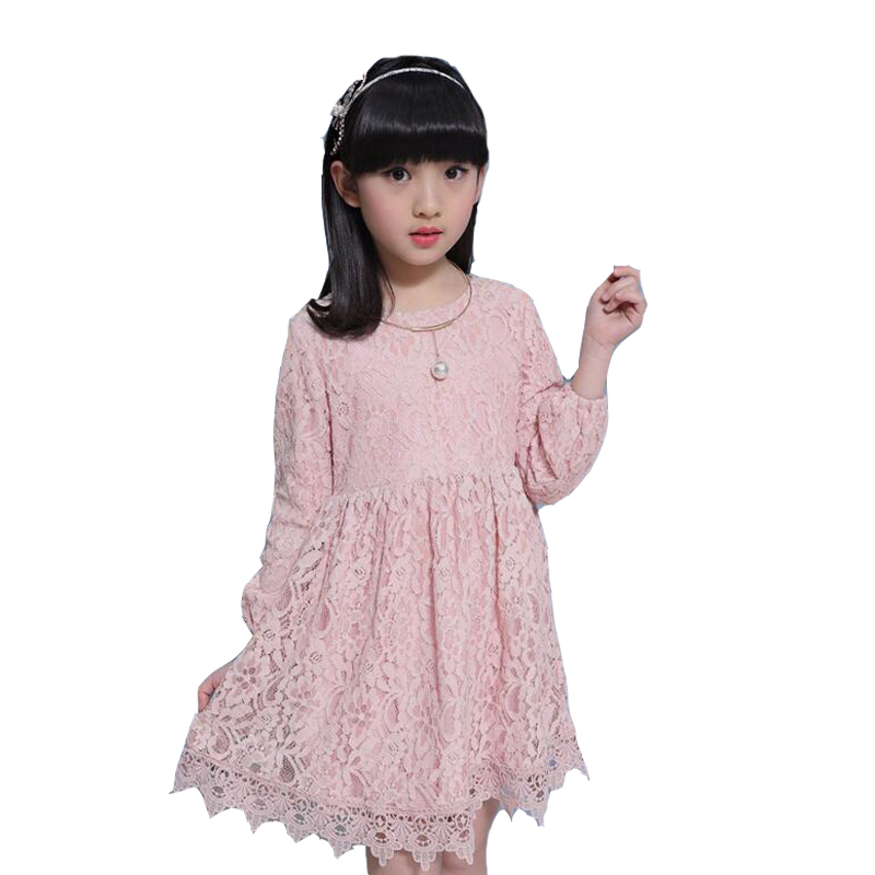 Kids Lace Dresses For Girls Ball Gowns Long Sleeve Princess Prom Dresses For Party And Wedding Spring Autumn Bottoming Dresses girls princess party dresses 4 long sleeve striped kids dresses for girls 6 preppy style bottoming dress 8 ball gowns 10 12years