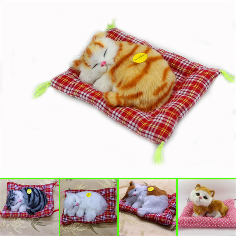 New Itmes Cute Cat Plush Kittens Plush animal Doll Sleeping kitten Plush Toys with Sounds Kids Appease Doll Christmas Gifts Toys