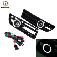 POSSBAY Car LED Angel Eyes Lights for VW JETTA BORA MK4 A4 Front Grill Grilles Fog Light White Daytime Running Lights Lamp