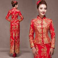Red Cheongsam Dress Chinese Wedding Dresses Plus Size Embroidery Dragon And Phoenix Dress Long Lace Cheongsams