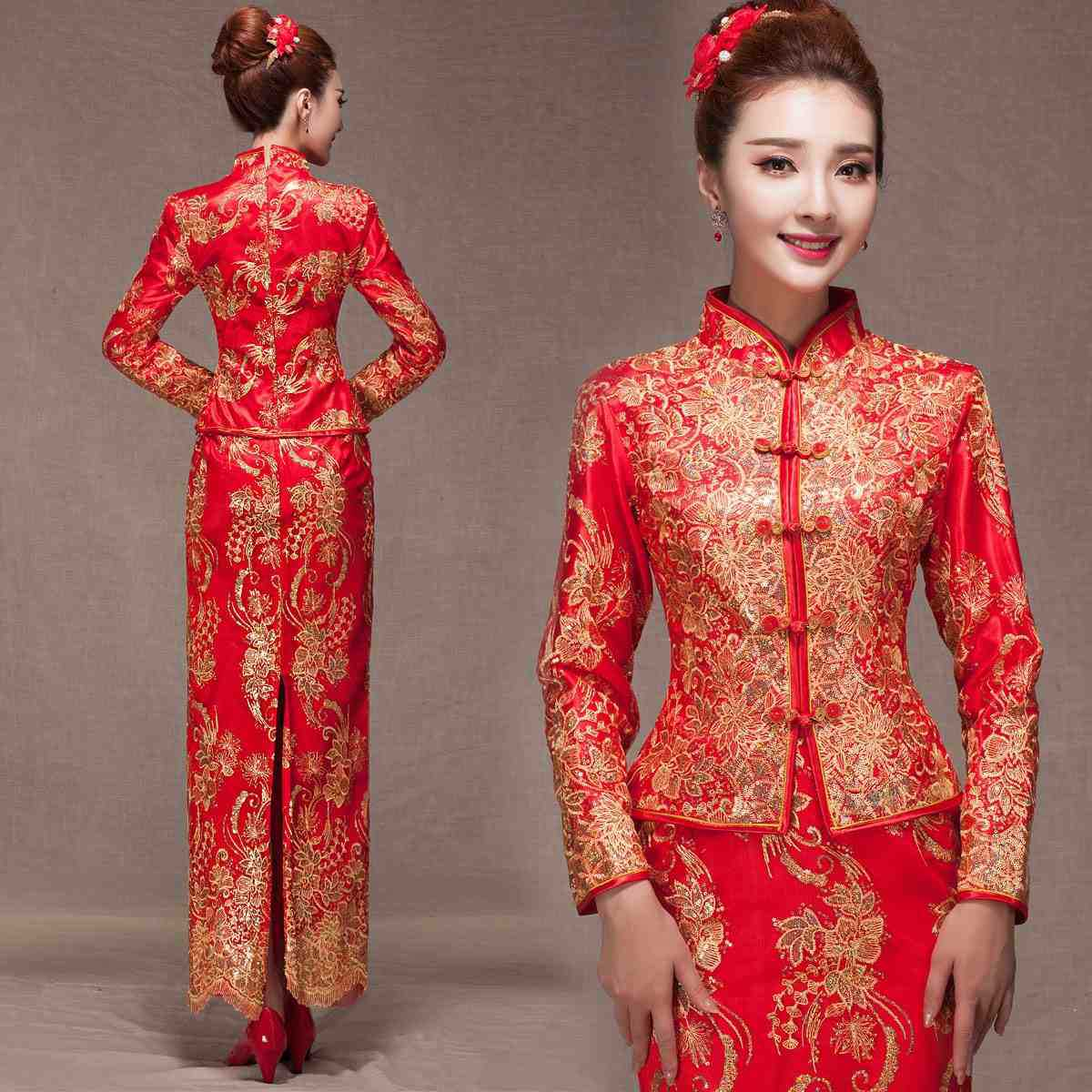 Chinesische Hochzeitskleider Rote Spitze Cheongsam Qipao Lange
