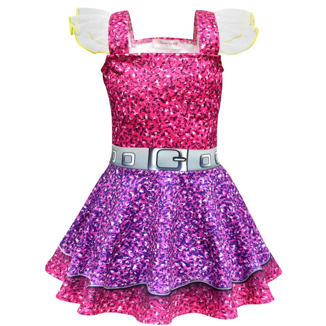 LOL Vestido Colorido Vestidos De Meninas 2019 Menina Cosplay Vestido de Festa de Natal Dia Das Bruxas Máscara Surpresa Roupas das Crianças do Traje