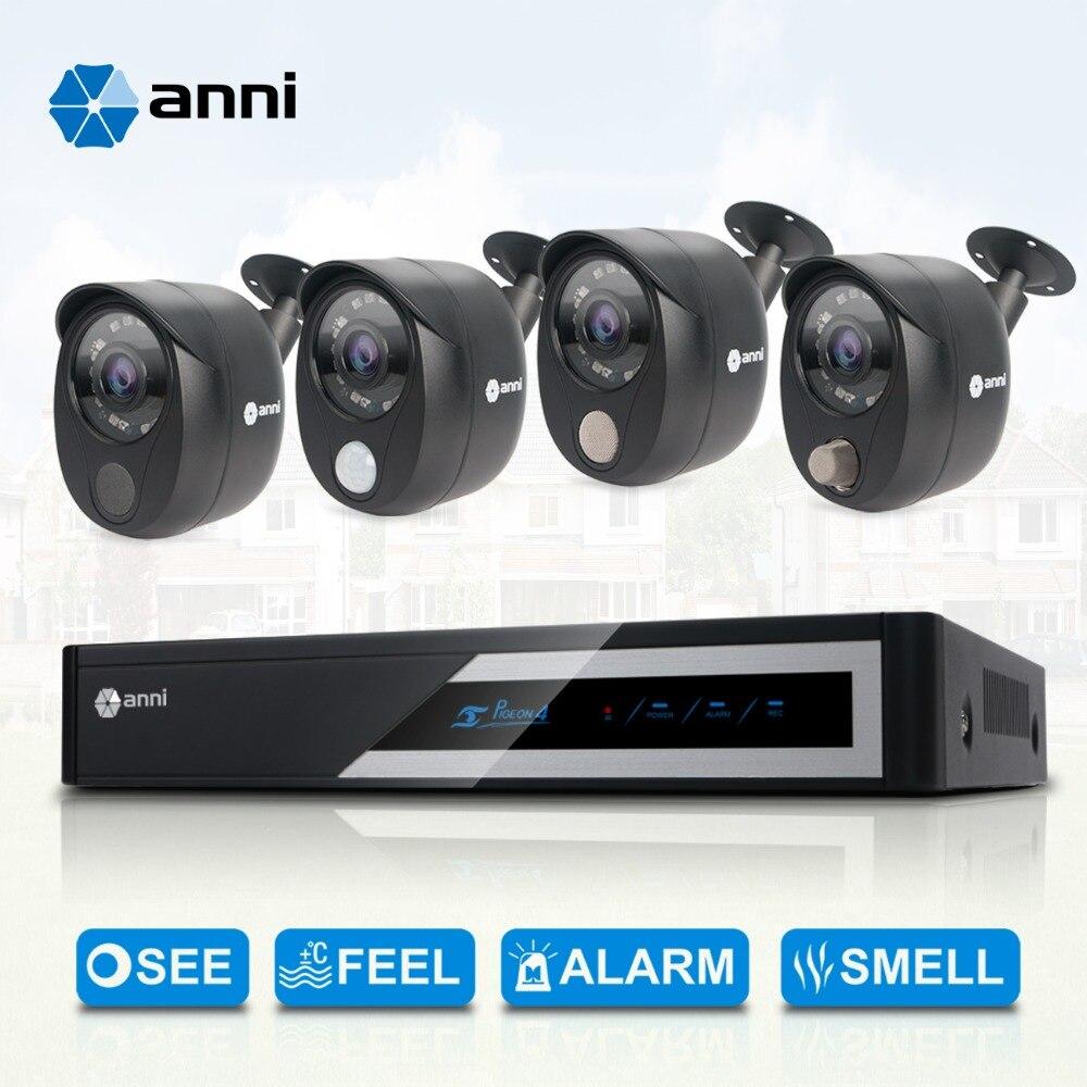 Kit de Surveillance de sécurité ANNI, enregistreur vidéo numérique 4 canaux 1080N, caméras 4x1080 P avec capteur PIR, détecteur de gaz, sirène