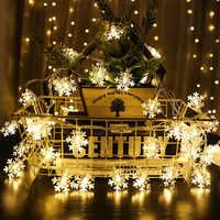 3m 20-Led luz copo De nieve cadena batería caja Año Nuevo Adornos navideños para el hogar árbol De Navidad decoración Adornos De Navidad. Q