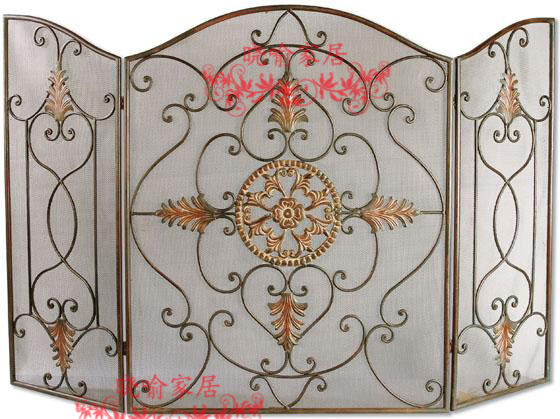 Wrought iron floor mantel The leaves modelling fireplace surround furnace1129 ...