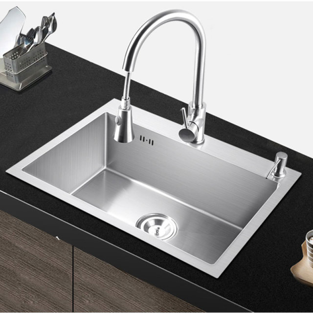 Pia Kitchen Sink Single Bowl Above Counter Or Udermount Installation Handmade Brushed Seamless 304 Stainless Steel