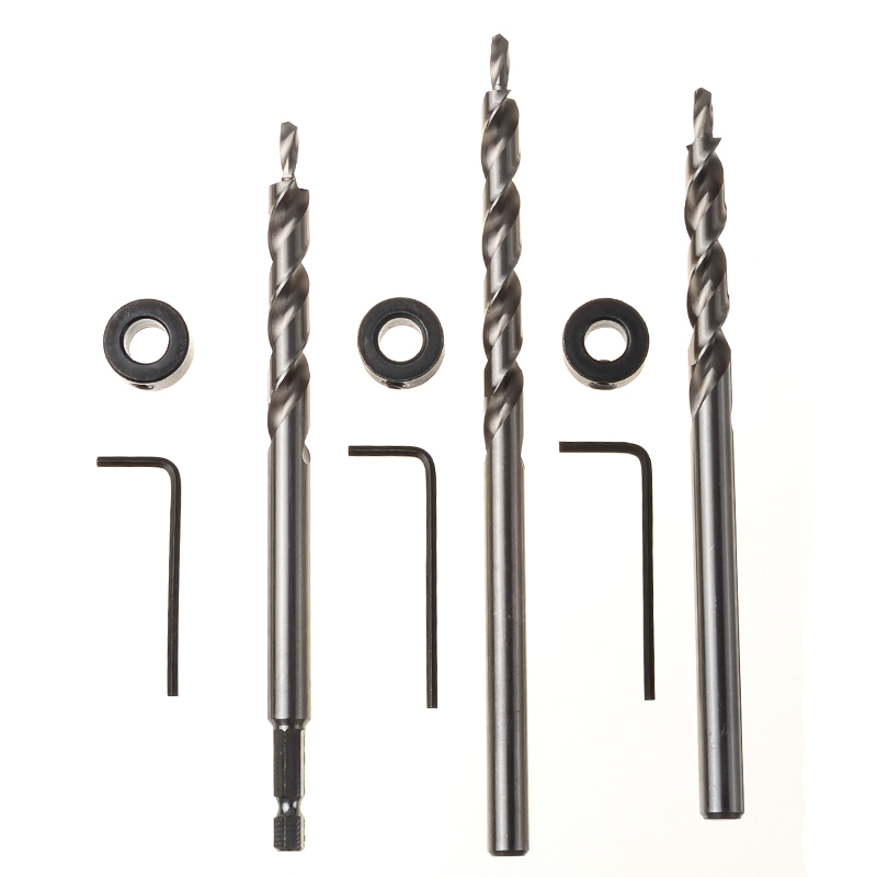 3pcs Pocket Hole Drill Jig Guide Twist Step Drills Bits Set 9.0/9.5mm Round / Hex Handle Hand Tools For Locator Drilling 1 4 hex twist 9 5mm diameter bits step drill woodworking drills bits set for kreg pocket hole drill jig guide