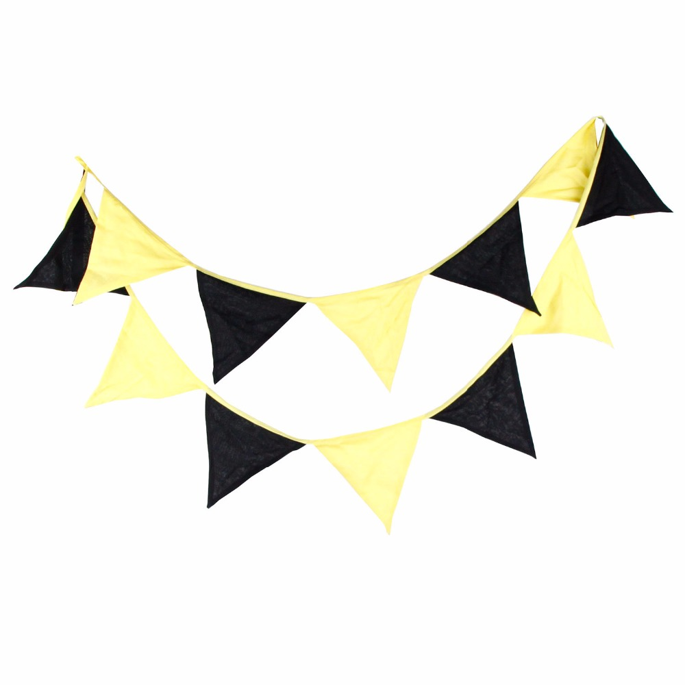 12 flags 32m black and yellow cotton fabric banners personality bunting flags garland halloween party decoration - Personalized Halloween Decorations