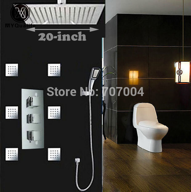 20  Luxury Rainfall Thermostatic Shower Set Faucet Ceiling Mount Chrome Brass Shower Mixer Tap with Handshower + Massage Jets chrome polished rainfall solid brass shower bath thermostatic shower faucet set mixer tap with double hand sprayer wall mounted