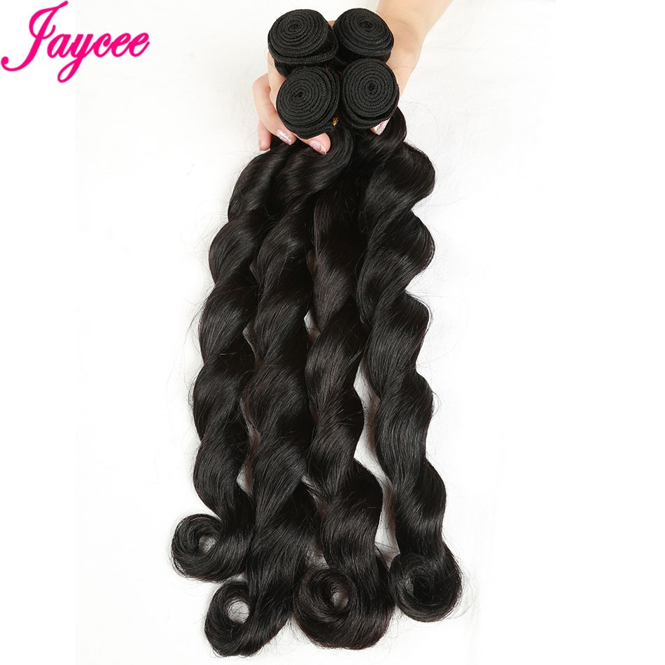 Jaycee Peruvian Non-remy Hair 1 Piece Loose Curly Wave 8 to 26 Natural Color 100% Human Hair Weaving Bundles Hair