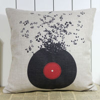 LINKWELL 18 X18 Black Flying Disk Music Note Home Decoration Burlap Pillow Case Seat Sofa Patio