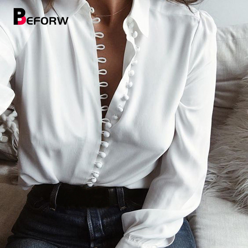 BEFORW Womens Tops And   Blouses   Female Elegant Long Sleeve Black White   Blouse     Shirt   Casual Streetwear Cotton Button   Shirt   Tops