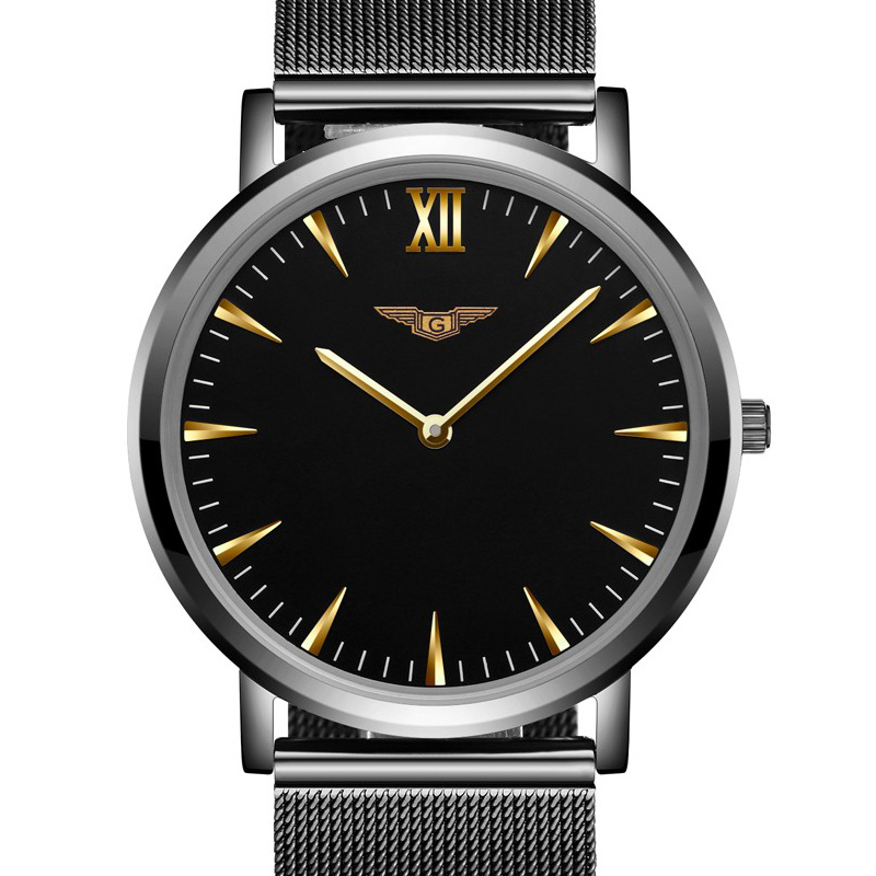 Prix pour Mens montres haut marque de luxe guanqin hommes ultra mince montre-bracelet en acier inoxydable quartz montre hommes relogio masculino