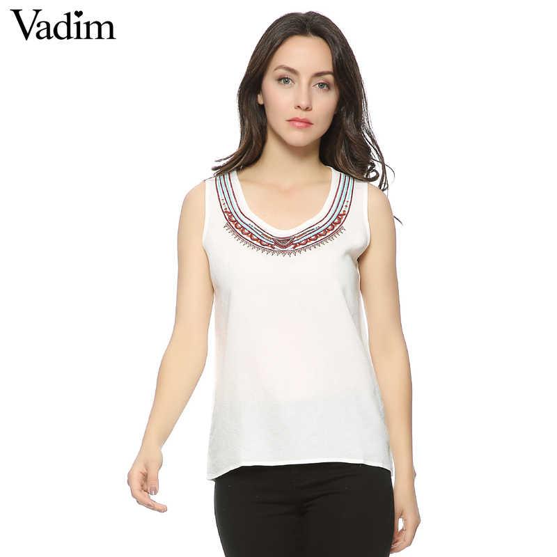 Vadim Nieuwe Mode Dames 'witte Borduurwerk blouses zoete vintage korte O hals mouwloos shirt toevallige slanke merk top WT75