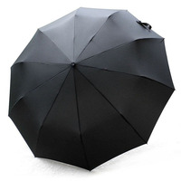 High Quality New Arrival Leather Handle 10 Rib Strong Automatic Umbrellas Wind Resistant Men Black Three
