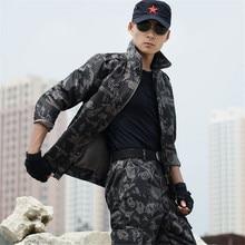 Autumn Black Men's Tactical Camouflage Seragam Tentera Seragam Pertempuran Tentera Suit Woodland Jaket Penyamaran + Seluar Suit Plus Saiz 4XL