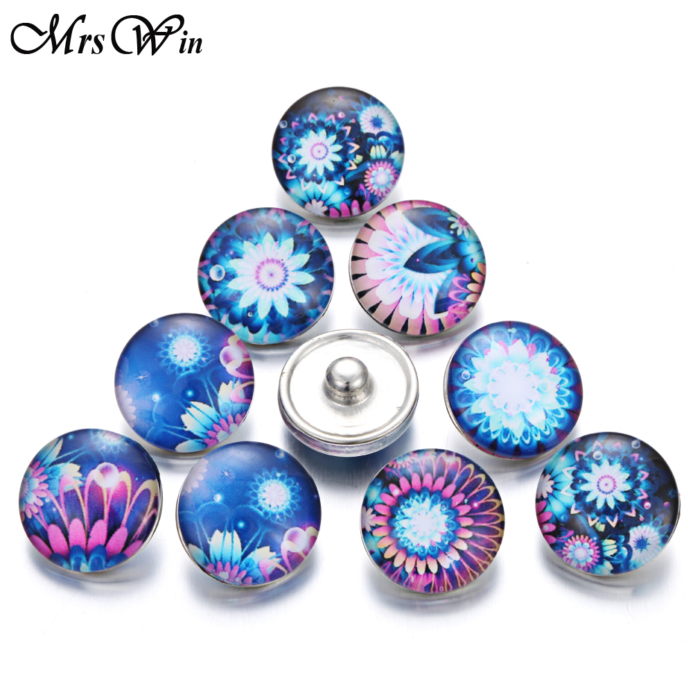 10pcs/lot Mrs Win Glass Snap Jewelry Vintage Round Glass 18mm flower snap buttons for snap