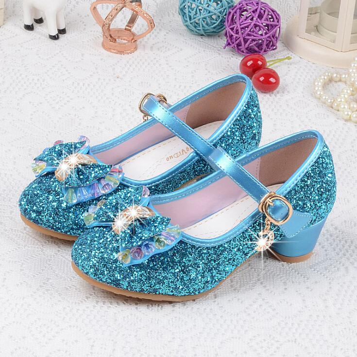 Children's Sequins Shoes Enfants Baby Girls Wedding Princess Kids High Heels Dress Party Shoes For Girl Pink Blue Gold Silver|Sneakers| |  - title=