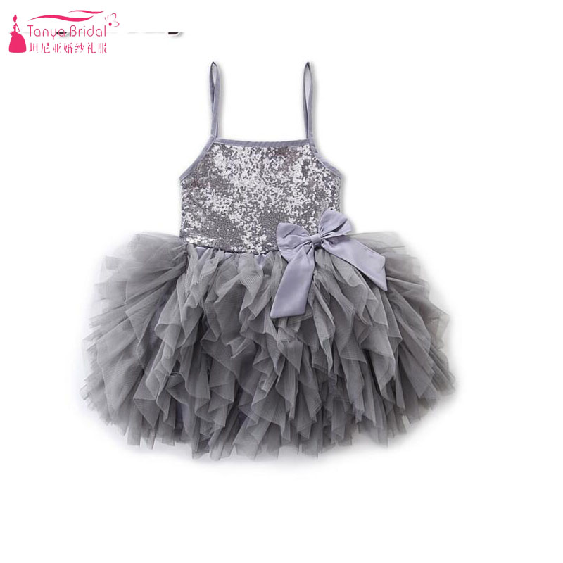 Silver Tutu Baby   Dresses   Spaghetti   Flower     Girls     Dresses   for Wedding And Party Sequined with Bow ZF077
