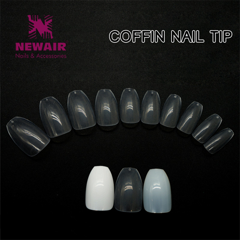 3 Color Coffin Nail Tips 500 unids Nail Art Tips Largas Bailarinas - Arte de uñas