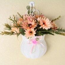 Портативная белая искусственная Цветочная висячая корзина ваза из ротанга настенная Цветочная корзина для дома, свадьбы, офиса, скандинавского украшения