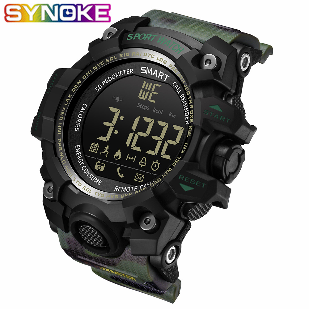 SYNOKE Men Outdoor Sport Smart Watch Bluetooth Multifunction Fitness Watches Waterproof Digital Wearable Devices For IOS Android
