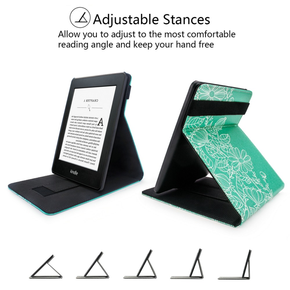 Stand Cover For Kindle Paperwhite - Protective Cover For Kindle Paperwhite Vertical Flip Case Auto Wake/Sleep With Hand Strap