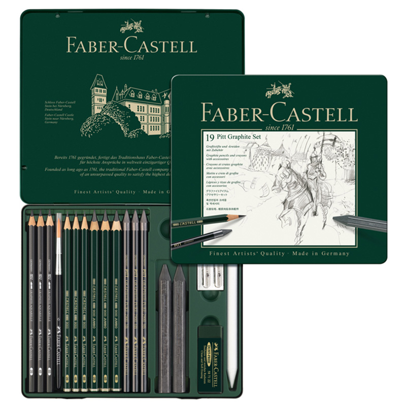 FABER CASTELL 19 piece combination water soluble sketch pencil drawing pencil set 112973 scribble scribble pen faber castell 25 pieces of pencil sketch sketch article carbon combination 112969