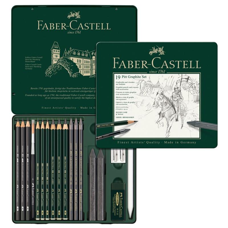 FABER CASTELL 19 pièce combinaison hydrosoluble croquis crayon dessin ensemble de crayons 112973