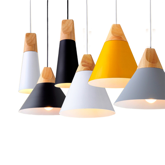 תליון אורות מודרני עץ תליון מנורת נורדי אור לקפה מסעדה שינה Hanglamp מטבח צבעוני השעיה Luminaire