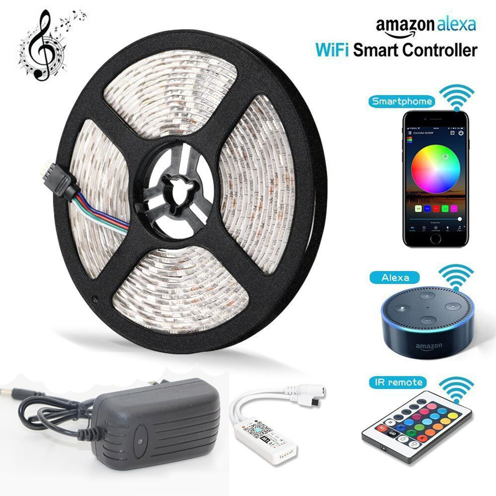 5m 300 LED Strip Light RGB RGBW Wifi Wireless Smart Phone APP Controlled Light Strip Kit 5050 Waterproof LED Lights Alexa Power led strip light wifi alexa compatible full kit smart phone controlled music 5050 rgb led strip work with google home android ios