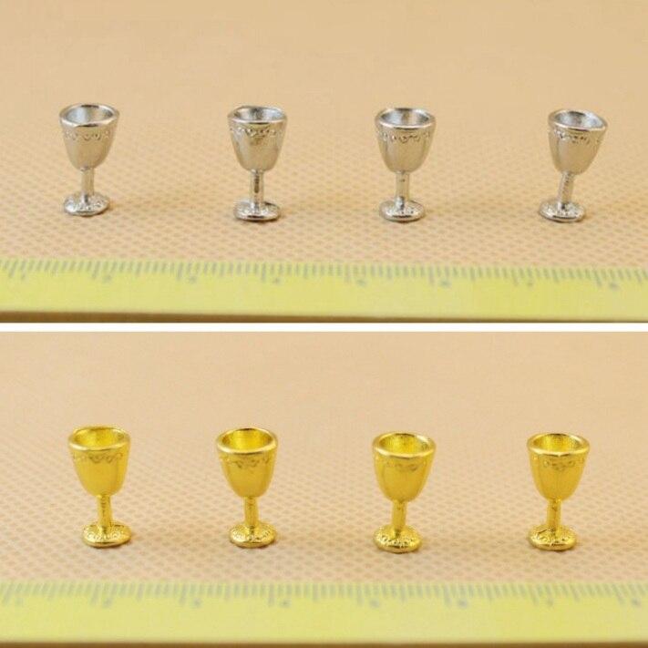 Мини Кукольный дом Интимные аксессуары мини текстура вина Кубок дворец Малый бокалы цвета: золотистый, серебристый дом бокал