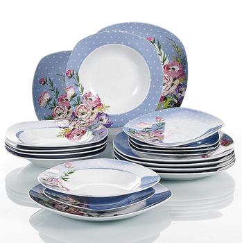"VEWEET HANNAH 18-Piece Flower Pattern Porcelain Dinner Plate Set of 7.5"" Dessert Plates,8.5"" Soup Plate,9.75"" Dinner Plates"