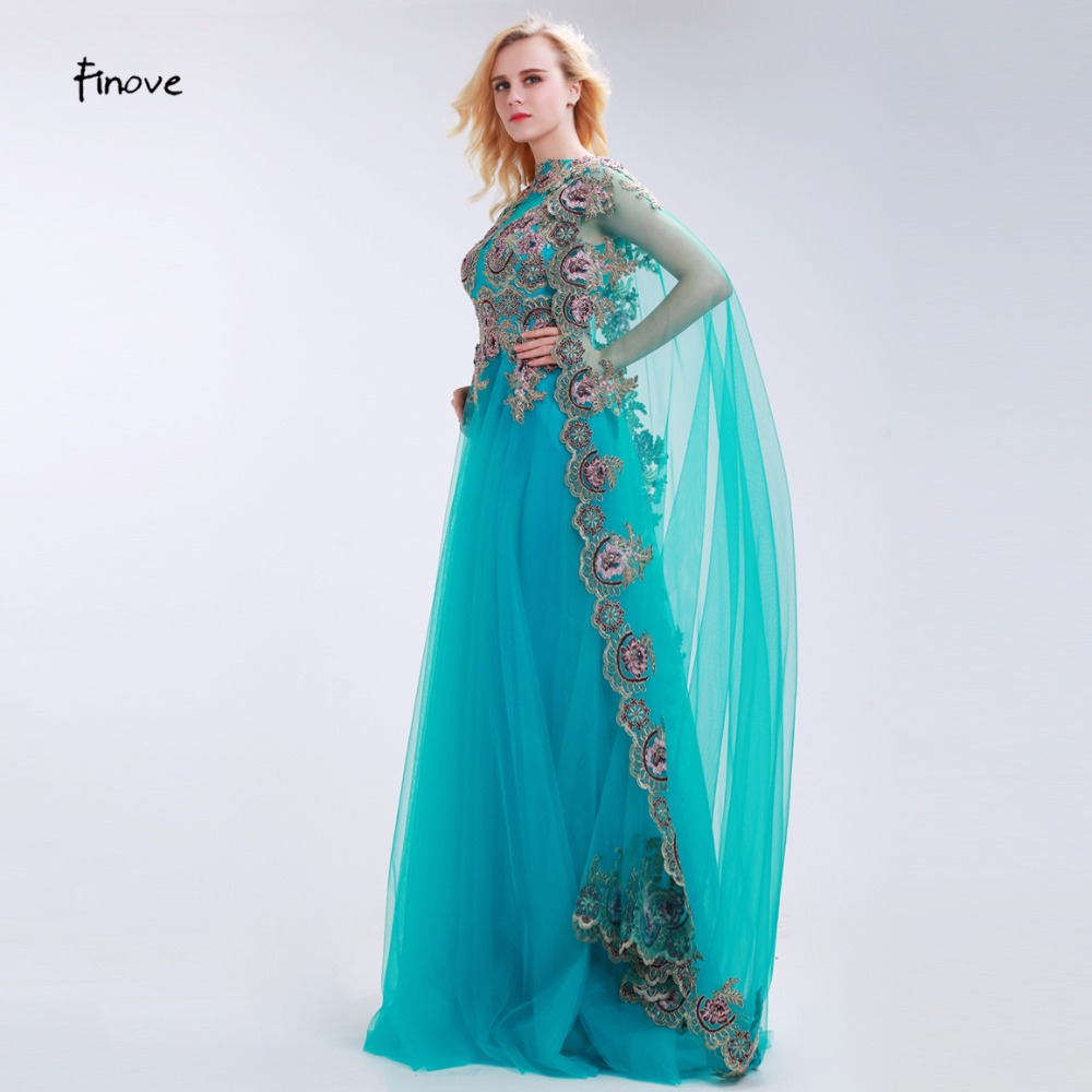 Online Shop Finove Peacock Blue Evening Dresses with Vintage ...