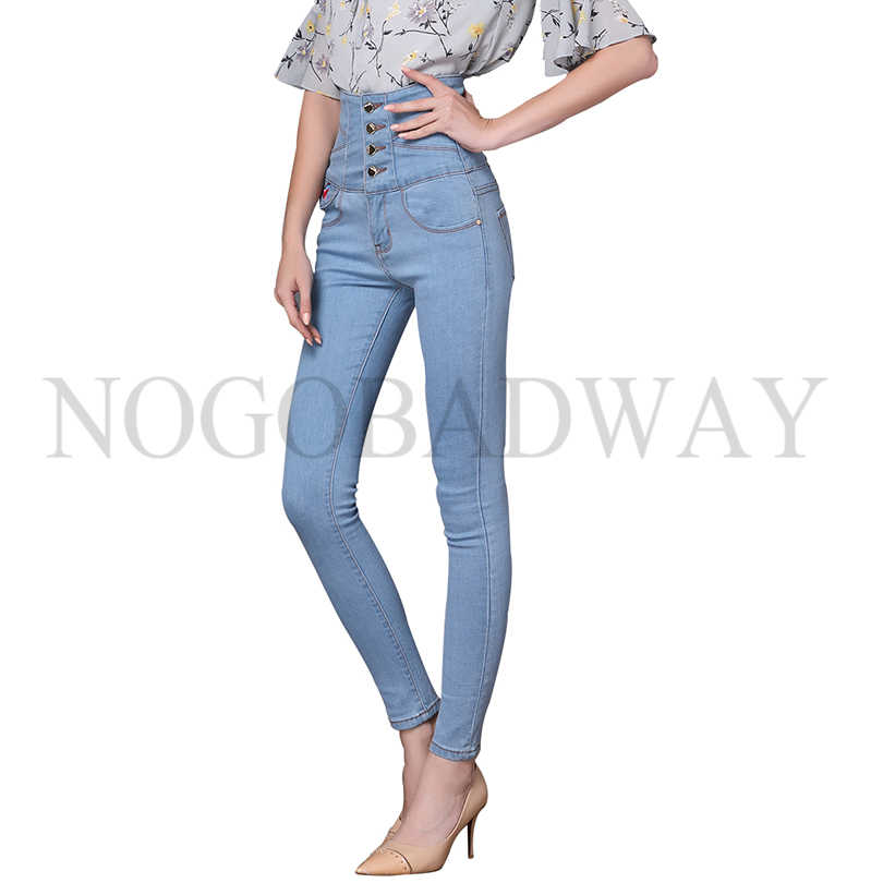 37df97ae482f Stretch plus size high waist skinny jeans woman denim pants femme slim for women  winter casual