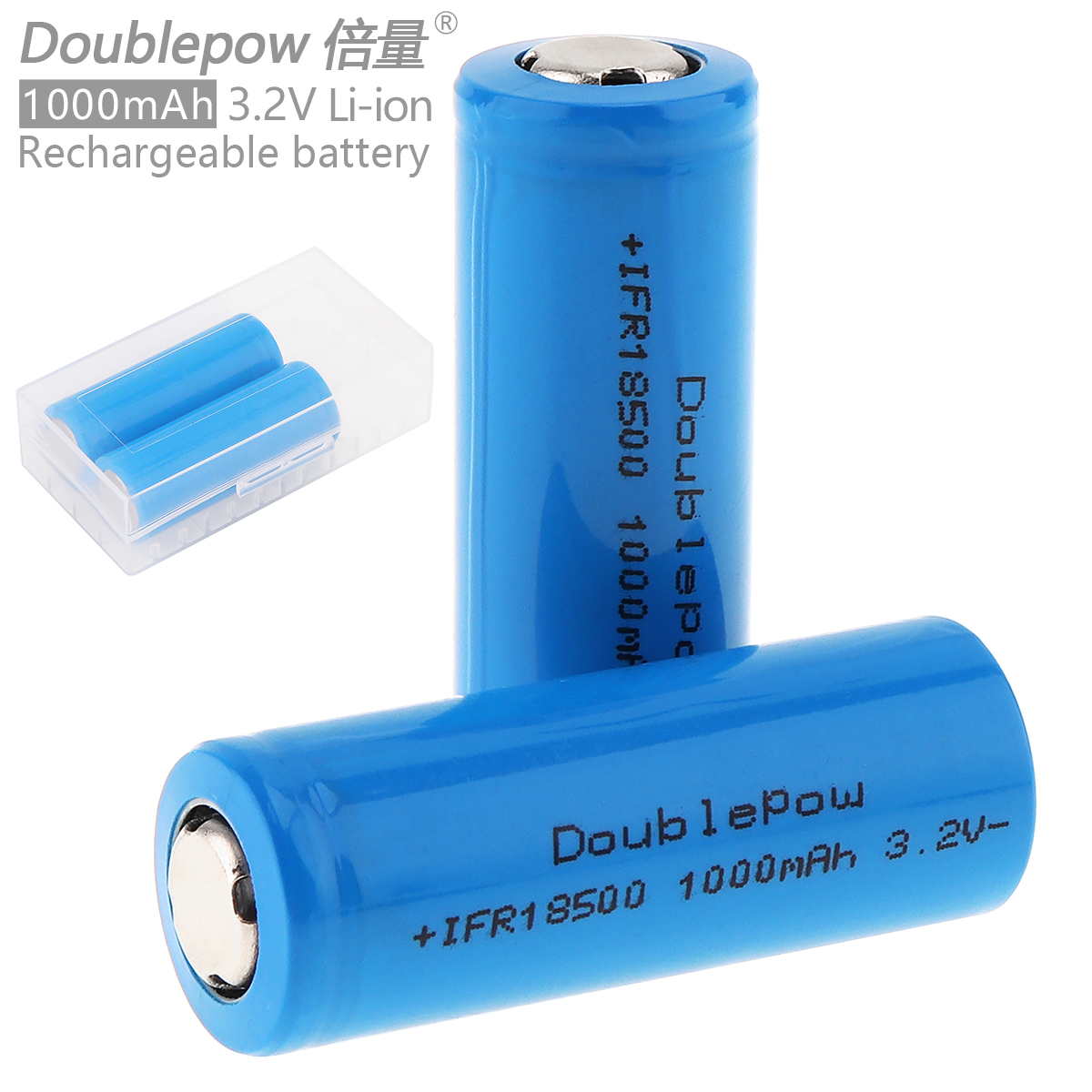 Doublepow 2pcs 18500 1000mAh 3.2V Li-ion Rechargeable Battery with Safety Relief Valve + Portable Battery Storage Box