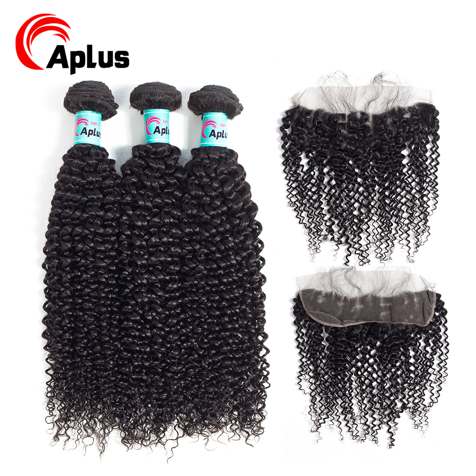 Malaysian Curly Frontal With Bundles Cheap Malaysian Curly Hair 100% Human Hair 3 Bundles With Baby Hair Lace Frontal Aplus Hair