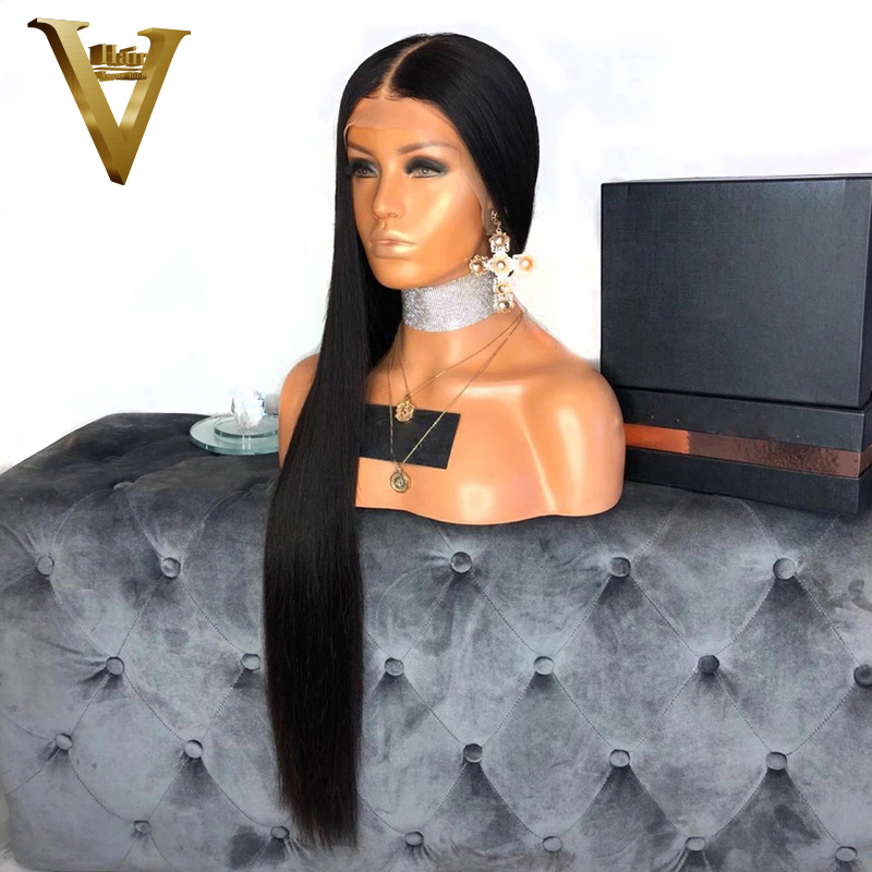 360 Lace Frontal Wig Pre Plucked With Baby Hair Peruvian Straight Lace Front Human Hair Wigs