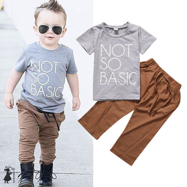 7c1b118efd71 Toddler Baby Kids Boys Girls Short Sleeve Tops T Shirt Tee+Pants Cotton  Clothes-in Clothing Sets from Mother   Kids on Aliexpress.com