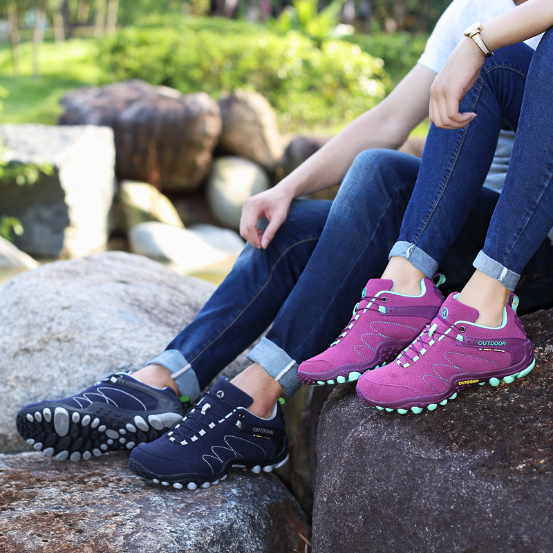 Women Hiking Camping Shoes Lovers Outdoor Sports Shoes Female Climbing Walking Shoes Breathable Purple Sneaker Men size35-44