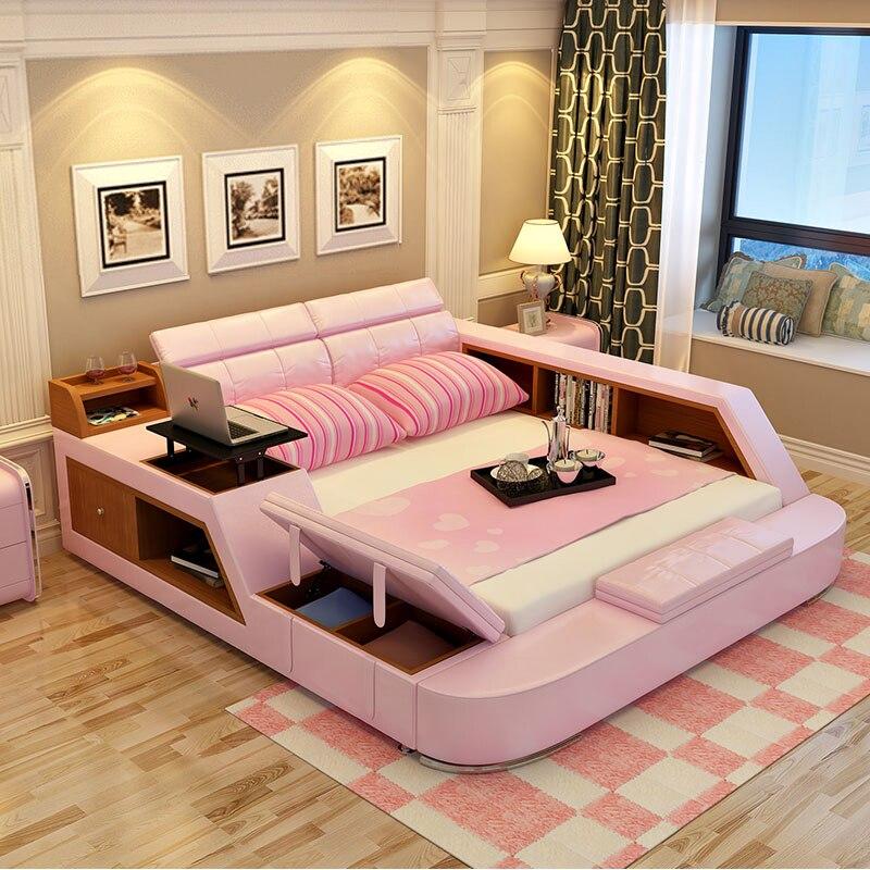 De cuero moderno queen size marco de la cama con almacenamiento ...