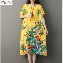 Dress OLN summer dress Hong Kong new long dress fat mm loose large size was thin literary plus size dress new arrival 2019 woolen winter large size dress sweet pure color large size fat mm dress
