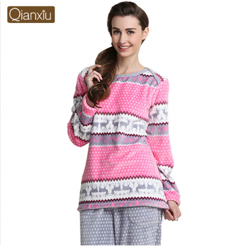 2019 Winter Brand Homewear Female Rainbow Pajama sets Women Thicken Warm Fannel Sleepwear suit Female Long