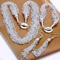 925 Sterling Silver Jewelry Set capas de plata borlas cadenas collar de plata, gancho pendientes pulsera S206