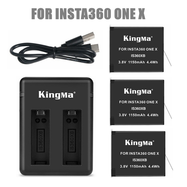 2019 1/2/3pcs For Insta 360 Chargeable Battery Pack+ Intelligent Display Dual Slots Charger For Insta360 One X Camer Accessories