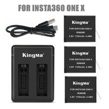 Заряжаемый аккумулятор Insta 360, 1/2/3 шт. + умный дисплей, два слота, зарядное устройство для Insta360 One X, аксессуары для камер, 2019
